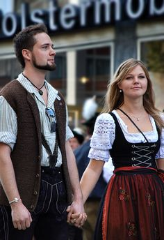Traditional German dress in Bavaria, Germany Traditional German Clothing, Traditional Dresses, German Outfit, Dirndl Dress, Lederhosen, Folk Costume, Couture, My Style, How To Wear