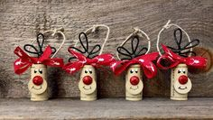 Set of 6 Cork Ornaments Reindeer Ornaments by ReconditionaILove Wine Cork Ornaments, Reindeer Ornaments, Wine Cork Crafts, Diy Christmas Ornaments, Homemade Christmas, Christmas Holidays, Christmas Decorations, Wine Cork Art, Christmas Projects
