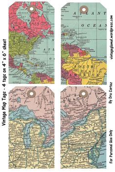 Pin by muse printables on printable bookmarks at bookmarkbee free digital embellishments vintage map tags and brads gumiabroncs Gallery