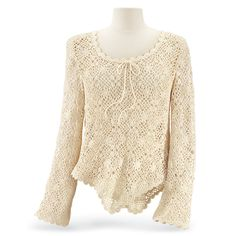 Crochetwork Top - Exquisite crochetwork—the art of romance! This feminine, long-sleeve top has a scoop neck front and back, with an adjustable drawstring, and features dainty, scallop edges all around. 100% cotton.