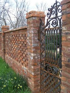 If you need a fence or wall--- this is a great one! pierced brick wall, pillars, and iron garden gate. TARA DILLARD: Orchard Wall & Gate=Brick with peep holes Brick Garden, Brick Fence, Front Fence, Fence Gate, Gabion Fence, Garden Walls, Fence Stain, Brick Columns, Brick Walls