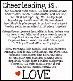 Cheerleading is... My life. I love cheer and my team we've gone though a lot together