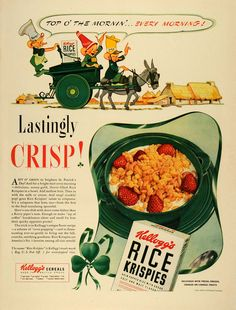 1941 Ad Kellogg Cereal Rice Krispies St. Patrick's Day Leprechauns Clover LF4