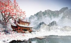 Japanese Temple - pic, picture, lake, digital, mountains, color, white, image, temple, snow, art, japanese, wallpaper, drawing, building, nature, tree, wall, colour