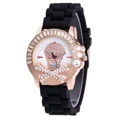 Rhinestone Skull Silicone Watch - BLACK