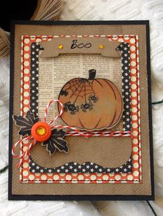 handmade Halloween card from Prickley Pear Rubber Stamps ... lots of matting layers including the black card ... luv the mixture of patterns with kraft ... fun pumpkin ... great card ...