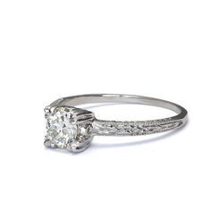 Close up angled view of Replica Art Deco Diamond Solitaire engagement ring.