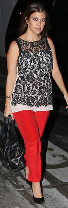Kourtney Kardashian: Shirt – Fifteen Twenty    Pants – Parker    Purse – Celine    Shoes – Yves Saint Laurent
