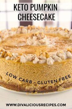 creamy low carb pumpkin cheesecake that is easy to make. A creamy low carb pumpkin cheesecake that is easy to make. Keto Cheesecake, Low Carb Pumpkin Cheesecake, Keto Pumpkin Pie, Cheesecake Cupcakes, Vegan Pumpkin, Ketogenic Diet, Ketogenic Recipes, Paleo Diet, Diet Recipes