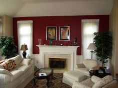 burgendy accent wall | burgundy accent wall in living room | for