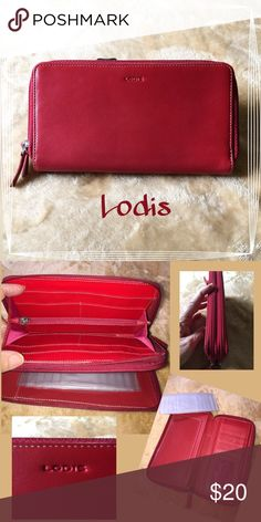 Pretty Red Wallet 🛍 Full size accordion wallet. Faux leather. New condition. Please zoom pictures. Lodis Bags Wallets