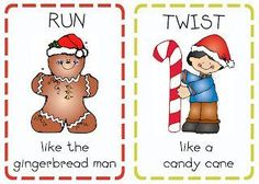 "12 FREE action cards perfect for getting the wiggles out in December. Includes cute actions like: ""Prance like a reindeer""; ""Twirl like a snowflake""; ""Roll like an ornament"" etc."