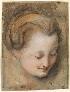 Barocci, Federico Italian (1535? - 1612) Head of a Woman, study for the painting Madonna del Gatto ca. 1574 Drawing black, red and white chalks with pink, ochre and brown chalks (possibly pastel) stumped on gray antique laid paper faded from blue, reinforced with blue paper and laid down on thin, off white board sheet: 12 15/16 x 9 5/8 in.; 32.8613 x 24.4475 cm