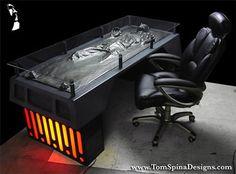 Star Wars: Han Solo Frozen in Carbonite Work Desk Interior Desing, Home Interior, Star Wars Furniture, Geek Furniture, Office Furniture, Skull Furniture, Han Solo Frozen, Sweet Home, Star Wars Han Solo