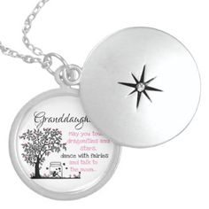 Granddaughters and Fairies Sterling Silver Necklace - typography gifts unique custom diy