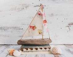 Driftwood SAILBOAT Wooden Boat Sailor Nautical Ocean Cottage Decor. $32.00, via Etsy.