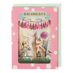 Celebrate giraffe theatre card
