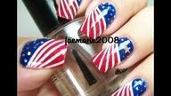 4th of July Nail Design, via YouTube by JaeMarie
