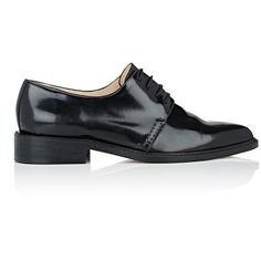 Barneys New York Women's Pointed-Toe Oxfords (16.810 RUB) ❤ liked on Polyvore featuring shoes, oxfords, black, leather oxfords, black low heel shoes, lace up shoes, black lace up shoes and black leather oxfords