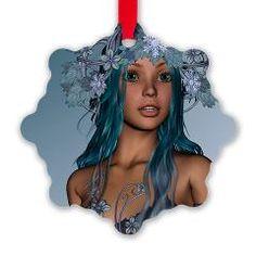 Winter Girl Snowflake Ornament> Winter> Your Fantasy World