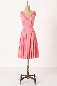 anthro - pink polka dot dress