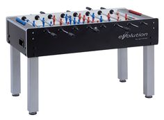 Garlando Evolution Foosball Table boasts the look of the ITSF tables. The heavy duty legs square steel with durable, washable powder. Leg levelers enable a perfectly flat playing field on uneven floors.