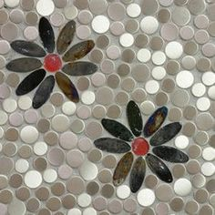 Steel Daisies Mosaic Tile Design 10% off for a limited time only! This would be a stunning kitchen backsplash or insert above a stove or range! $26.99