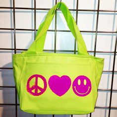 Neon Peace, Love, Smile Insulated Lunch Bag (Neon Green) - LikeWear Neon Bag, Insulated Lunch Bags, Neon Green, Peace And Love, Diaper Bag, Smile, Diaper Bags, Mothers Bag, Laughing