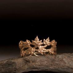 Gold Leaf Ring - vine ring - maple leaf ring - oak leaf ring - nature - branch…