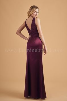 L204053 V-neck Lace   Marquis Satin Long Bridesmaid Dress 333b5597e9cf
