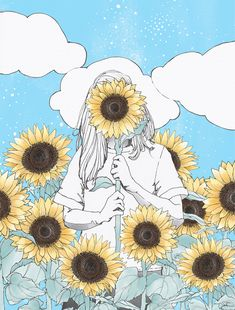 Girl holding sunflower illustration by The Scenic Route- You are my sunshine. drawing You Are My Sunshine Print — The Scenic Route Sunflower Sketches, Sunflower Drawing, Sunflower Art, Watercolor Sunflower, Art And Illustration, Sunflower Illustration, Art Inspo, Sunflower Wallpaper, Aesthetic Art