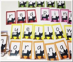 Pete the Cat - literacy activity - spell out colors by matching color letter cards to black-and-white template