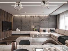 Most Popular Contemporary Living Room Design Ideas - Salon - Home Room Design, Sofa Design, Interior Design Living Room, Living Room Designs, Living Room Decor, Living Spaces, Plafond Design, Living Room Accessories, Loft Interiors