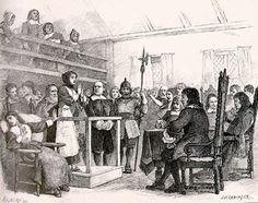 Setting:    This image represents the Salem Village meeting house during the witch trials. This meeting house is where the interrogations of many accused witches, including Tituba, Sarah Good, Martha Corey, and Rebecca Nurse, took place. John Hathorne is depicted here, interrogating Martha Corey.