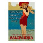 California beach vintage girl travel poster  California beach vintage girl travel poster  $36.75  by POSTERSandPOSTCARDS  . More Designs http://bit.ly/2hyOutM #zazzle