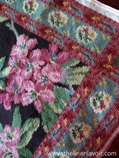 Needlepoint Panel Finished Wool Tapestry Florals Needle Work