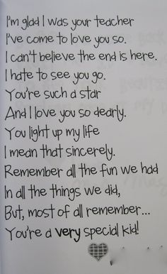 End of year poem that I think I can adapt for my 8th graders :).