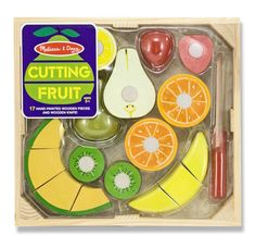 """Wooden set features a wooden knife and seven pieces of sliceable fruit that can be cut into a total of seventeen pieces. Food makes a fun """"CRUNCH"""" sound when sliced. With so many pieces, it's also a g"""