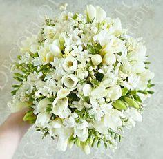 White Freesia, White Hyacinth, White Lily Of The Valley Wedding Bouquet