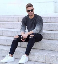 Slim Fit Ripped Jeans Men Hi-Street Mens Joggers Destroyed 1834 / 28 Accesorios - 2019 Urban Fashion, Men's Fashion, Fashion Ideas, Fasion, Fashion Styles, Fashion Tips, Fashion Outfits, Fashion Shirts, Korea Fashion