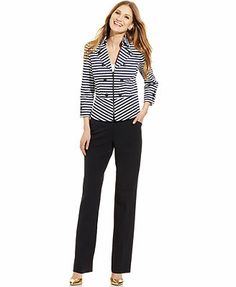 Tahari by ASL Zip-Front Striped Jacket & Straight-Leg Trousers