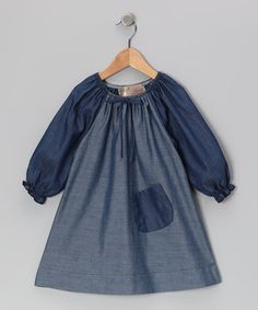 Take a look at this Denim Pocket Peasant Dress - Toddler & Girls by Lele Vintage on #zulily today!