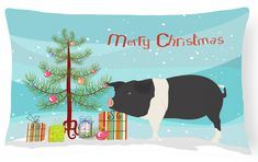 Hampshire Pig Christmas Canvas Fabric Decorative Pillow BB9306PW1216