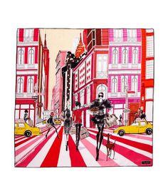 "La Promenade Scarf | Henri Bendel STYLE NUMBER: 26761048740193 100% Silk twill Custom Megan Hess Illustration Imported Dimensions: 36""H x 36""W"