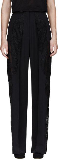 Stella McCartney Black Wool Crepe and Openwork Lace Pleated Pants UK8 US 4 EU34