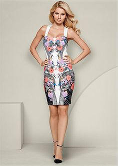 White Multi Floral Print Bodycon Dress from VENUS