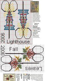 scissors, lighthouses, fall leaves