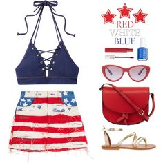 Red, White & Blue: Celebrate the 4th! by catchsomeraes on Polyvore featuring Marc Jacobs, Jonathan Simkhai, K. Jacques, KC Jagger, Vogue Eyewear, Maybelline, Essie, stripes, stars and fourthofjuly