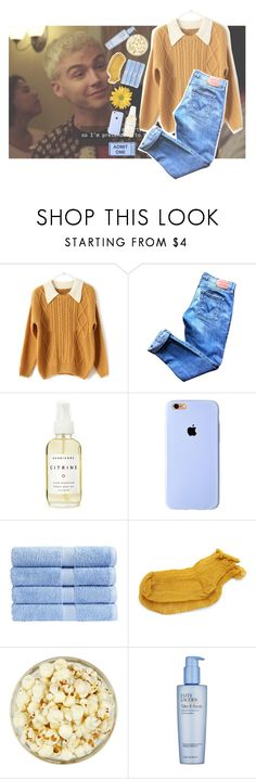 """BLOOD RUNNING THROUGH MY VEINS"" by applejuice-and-peach ❤ liked on Polyvore featuring Levi's, Herbivore, Christy, Polder, Estée Lauder and peachyfashion"