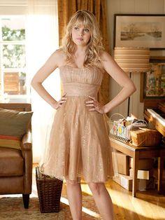 3. Nova Prescott's Shimmery Nude Dress in Prom